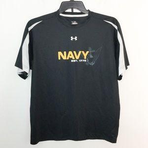 Under Armour M Navy Shirt Heatgear Black Gold EUC